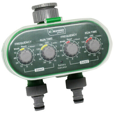Kingfisher Deluxe Twin Water Timer Electric Automatic Garden Watering Clock Unit • 31.99£