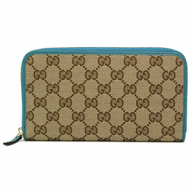 $345.79 • Buy GUCCI GG Canvas Zipped Around Long Wallet Leather Beige Blue 363423 90095962