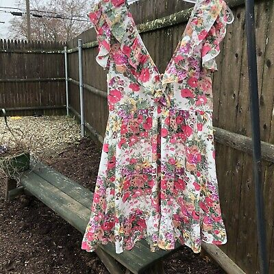 $88 • Buy Auguste The Label Provence Iris Pink Floral Print Ruffled Mini Dress Women Sz 2
