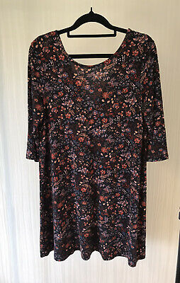 AU7 • Buy Pull And Bear Black Floral Tunic Top M Cropped Sleeves Stretchy Fit Boho