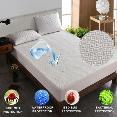 £23.99 • Buy Mattress Protector Waterproof Luxury Bamboo Hypoallergenic Fitted Bed Cover Pad