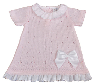 £14.99 • Buy Baby Girl DRESS Knitted Spanish Style BOW Frill