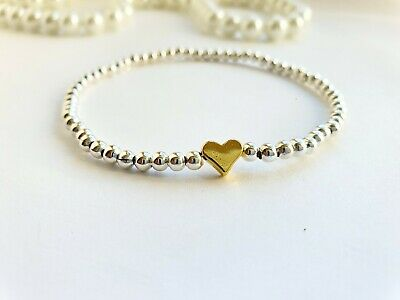 💛 Silver Ball Stretch Bracelet / Anklet Lucky Cute Gold Heart Stacker Gift 💛 • 3.10£
