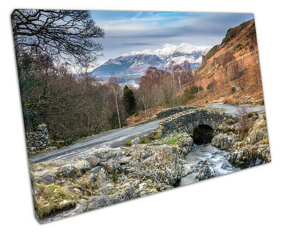 Ashness Bridge & Snow Capped Skiddaw The Lake District Print On Canvas 30x20  • 17.75£