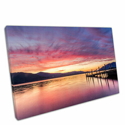 £17.75 • Buy Print On Canvas Sunset At Ashness Jetty In Keswick The Lake District 30x20
