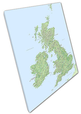 £17.75 • Buy Print On Canvas UK Map Roads Rivers Hills Cities Towns Great Britain 30x20 Inch