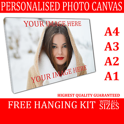 Framed Personalised Picture Your Photo To Canvas Print Printing READY TO HANG • 11.83£