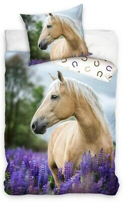 £22.99 • Buy Palomino Horse With Flowers Bedding Duvet Set Reversible Single Bed Cover