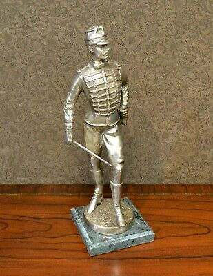 Soldier Statue-Silver Plated-Marble Base • 129.89£