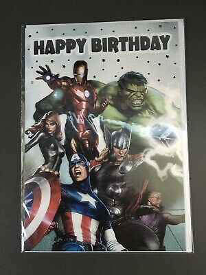 Marvel Avengers Birthday Card! CelloWrap! SPEEDY DELIVERY! Hulk Iron Man • 2.69£