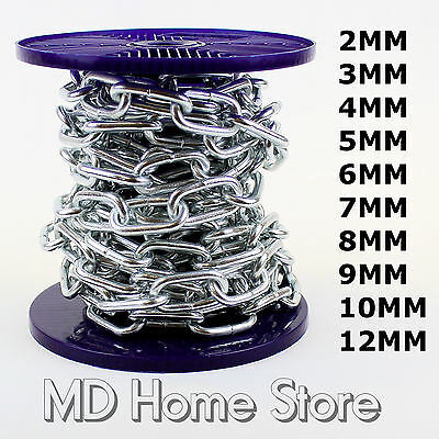 Strong Heavy Duty Steel Chain BZP Bright Zinc Plated Side Welded Security Links • 4.39£