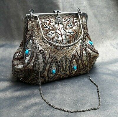 Leko Of London Large Beaded Gold Lame Evening Bag With Detachable Chain Strap • 14.99£