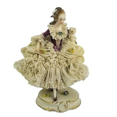 $ CDN475.51 • Buy Antique Dresden German Porcelain Lace Lady With Flowers Figurine