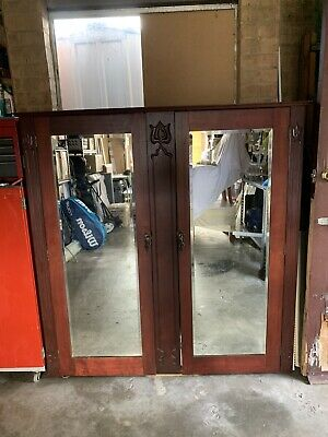 AU65 • Buy Antique Closet/Wardrobe With Bevelled Mirrored Doors