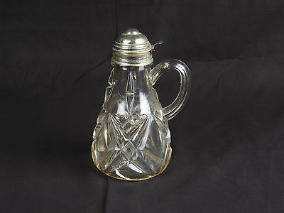 $29 • Buy Antique Syrup Pitcher EAPG Glass Clear Dispenser Pattern Glass Crystal Metal Lid