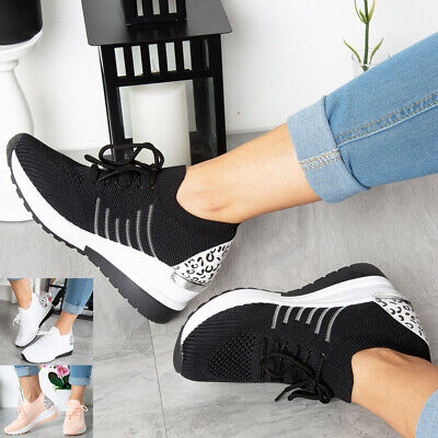 Ladies Wedge Trainers Womens Sneakers Lace Up Comfy Classic Jogging Pumps Shoes • 15.99£