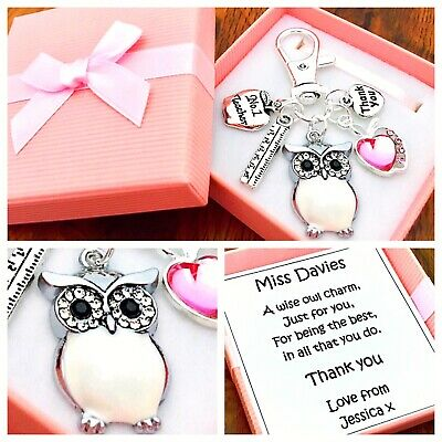 WISE OWL Charm, THANK YOU TEACHER GIFT, School, PERSONALISED GIFT BOX • 5.45£