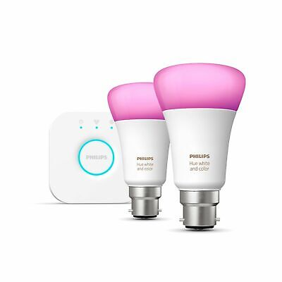 AU180.32 • Buy PHILIPS Hue White And Colour Ambiance Mini Smart Bulb Starter Kit B22