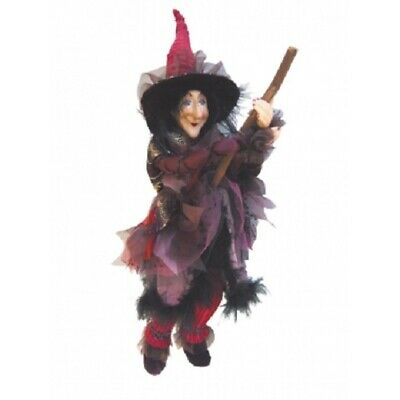 Witches Of Pendle *chattox  Burgundy Flying Witch 45 Cms  Info Book Pagan/occult • 32.95£