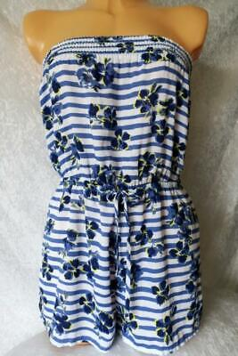 Ladies M&s Blue White Strapless Playsuit Cover Up Beach Shorts Jumpsuit Uk 8-24 • 9.95£