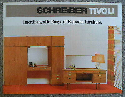 VINTAGE 1970s SCHREIBER TIVOLI TEAK FINISH BEDROOM FURNITURE BROCHURE/CATALOGUE • 9.99£