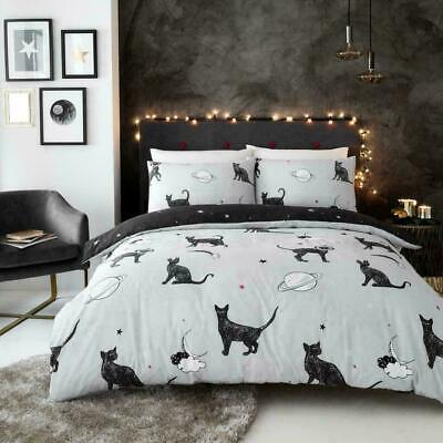 Astro Cat Duvet Quilt Cover Pillowcase Polycotton Modern Reversible Bedding Set • 15.49£