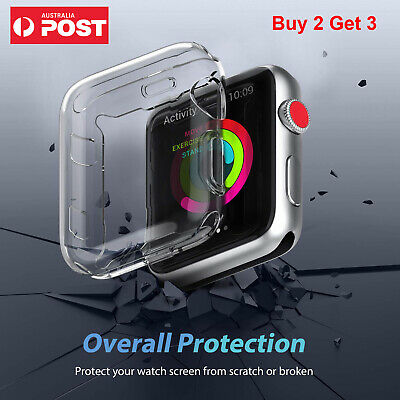 AU6.95 • Buy For Apple Watch Series 3/2 5/4 IWatch Screen Protector Case Full Cover/Clear TPU