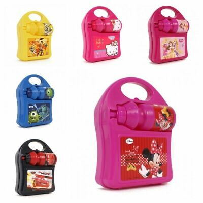 New Kids Girls Boys Disney Character Hard School Lunch Box Set With Water Bottle • 8.89£