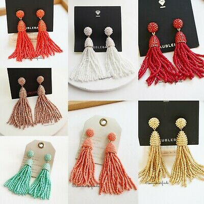 $ CDN32.10 • Buy Anthropologie BaubleBar Sky Beaded Tassel Drop Earrings NWT