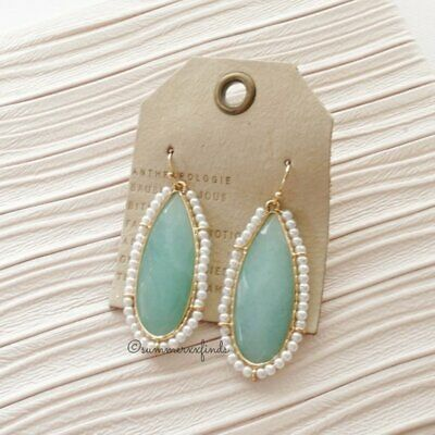 $ CDN58.84 • Buy NWT Anthropologie Emilie Pearl Wrapped Drop Earrings Dyed Jade Synthetic Pearl