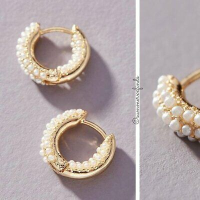 $ CDN48.82 • Buy Anthropologie Pearl Huggie Hoop Earrings NWT
