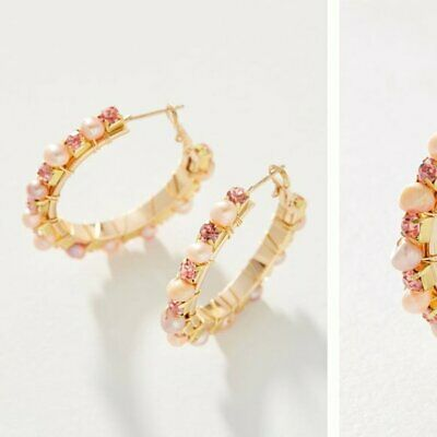 $ CDN57.82 • Buy Anthropologie Margot Embellished Hoop Earrings Pink NWT