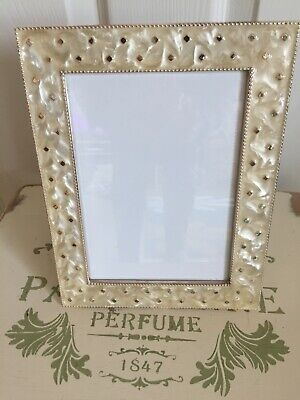 Past Times Style Oyster Pearl Effect Oblong Heavy  Standing Photo Frame • 12.99£