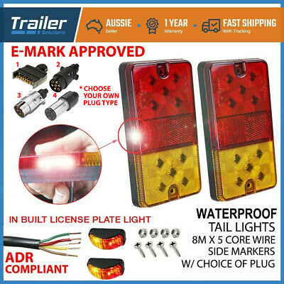 AU46.99 • Buy 2 X 10 LED TRAILER LIGHT WIRE CABLE 8m 5 CORE LICENSE PLATE LIGHT CLEARANCE LAMP