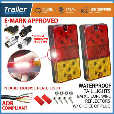 AU43.34 • Buy LED TRAILER TAIL LIGHT KIT PAIR PLUG, 8m 5 CORE WIRE CARAVAN BOAT UTE Waterproof