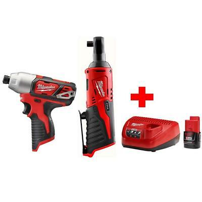 £238.48 • Buy Milwaukee Cordless Ratchet 12-Volt Lithium-Ion And Impact Driver Combo Kit
