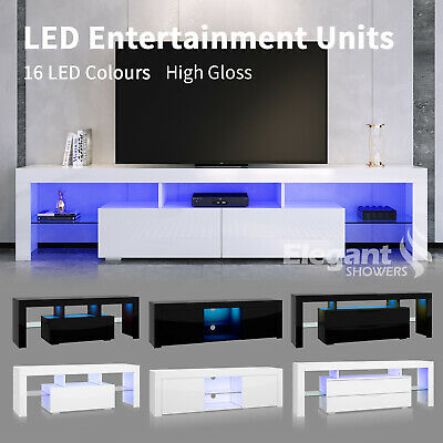 AU144 • Buy TV Cabinet Entertainment Unit Stand RGB LED 16 Colours Storage Shelf High Gloss