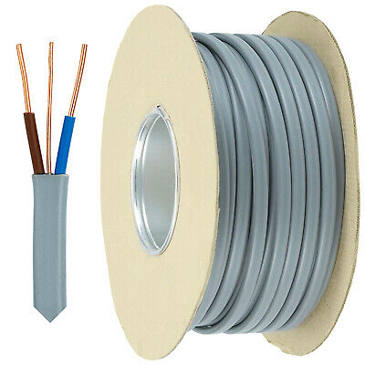 Twin And Earth Cable Flat Spool Reel Electrical Wire Grey Pair T&E Socket Wiring • 177.59£