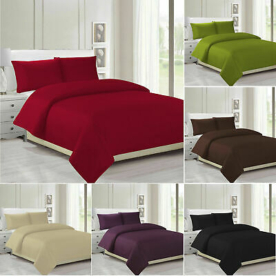 Plain Dyed Duvet Cover Quilt Bedding Set With Pillowcase Single Double King Size • 9.49£