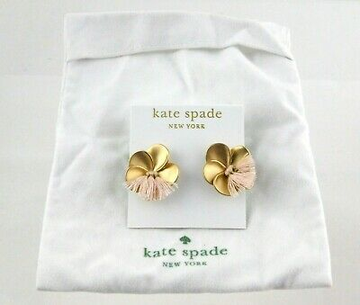 $ CDN36.15 • Buy Kate Spade 14k Gold Fill Flower Earrings With Pink Thread Additions W Tag & Bag