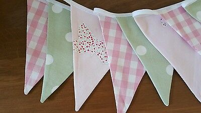 LAURA ASHLEY BUNTING  - DOUBLE SIDED Bella Butterfly, Pink Gingham And Green Dot • 9£