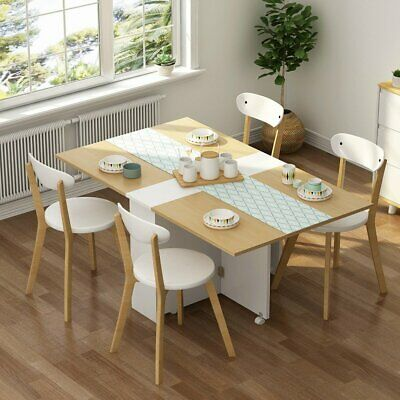 $162.59 • Buy Home Folding Extendable Dining Table With Cabinets 6 Wheels Movable Dinner Table