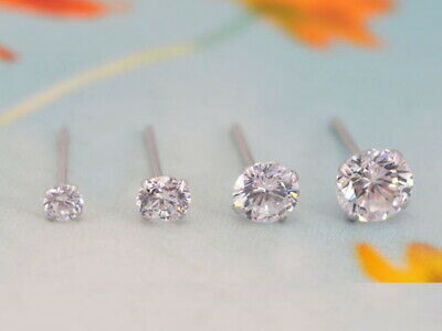 AU6.50 • Buy UNISEX 925 Sterling Silver ROUND Or SQUARE Brilliant CZ Crystal STUD EARRINGS