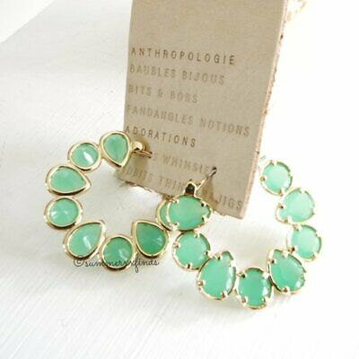 $ CDN61.67 • Buy Anthropologie Margot Hoop Earrings Glass Stone Green NWT