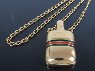 £289 • Buy Authentic GUCCI Italy Perfume Bottle Goldtone 29  Chain Pendant Necklace