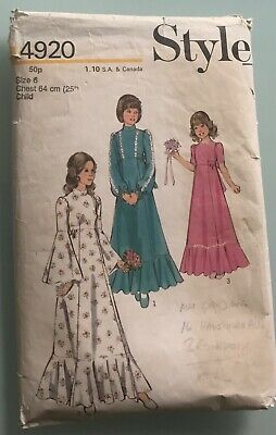 """Style 4920 Vintage 1974 Pattern Girl's Bridesmaid Dress. Chest 25"""" • 5£"""