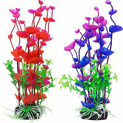 2X/Set Artificial Fake Fish Tank Plants Aquarium Aquatic Ornament Plastic Flower • 5.45£