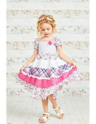 New Girls Kids Cotton Pink Check & Floral Print Gypsy Summer Casual Party Dress  • 12.99£