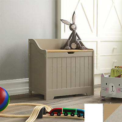 Priano Toy Box Chest Wooden Storage Blanket Lid White Grey Kids Childrens Tidy • 39.85£