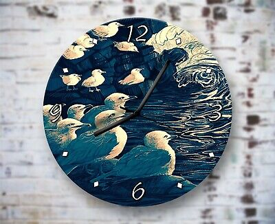 Seagulls Artwork Nautical Wall Clock Home Office Bedroom Living Room Kitchen • 16.95£